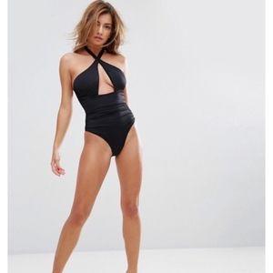 Pour Moi Swim - ASOS Pour Moi Cross Front Black One Piece Swimsuit